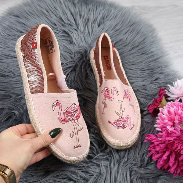 Espadryle damskie z flamingami różowe Big Star DD274A156 różowy