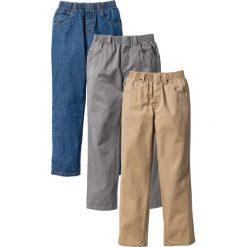 """Odzież chłopięca: Luźniejsze spodnie (3 pary) bonprix dymny szary + cappuccino+ niebieski """"stone"""""""