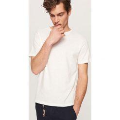 T-shirty męskie: Gładki t-shirt z lnem – Kremowy