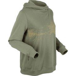 Bluza z kapturem, długi rękaw bonprix oliwkowy. Zielone bluzy z kapturem damskie bonprix, z długim rękawem, długie. Za 99,99 zł.