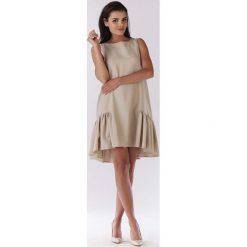 Sukienki: Beżowa Sukienka Wizytowa z Falbanką na Dole