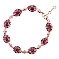 Biżuteria i zegarki damskie: Bransoletka Złota - złoto różowe 585, Granat...