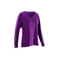 Koszulka do jogi długi rękaw YOGA 100. Fioletowe t-shirty damskie marki DOMYOS, l, z bawełny. W wyprzedaży za 29,99 zł.