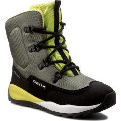 Buty zimowe chłopięce: Śniegowce GEOX – J Orizont B Abx E J640BE 01150 C0914 Military/Lime