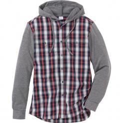 Koszula z długim rękawem z dzianiny dresowej Regular Fit bonprix ciemnoniebiesko-szary melanż w kratę. Czerwone koszule męskie marki Cropp, l, z kapturem. Za 109,99 zł.