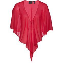 Bluzka narzutka bonprix czerwony. Białe bluzki wizytowe marki bonprix, w kropki, biznesowe, z kopertowym dekoltem, moda ciążowa. Za 37,99 zł.