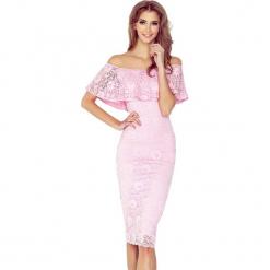 Różowa Koronkowa Sukienka Hiszpanka. Szare sukienki hiszpanki marki Molly.pl, l, w koronkowe wzory, z koronki, eleganckie, z dekoltem typu hiszpanka, z krótkim rękawem, midi, dopasowane. Za 219,99 zł.