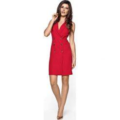 Sukienki: Czerwona Sukienka Żakietowa Kamizelkowa Mini Szmizjerka