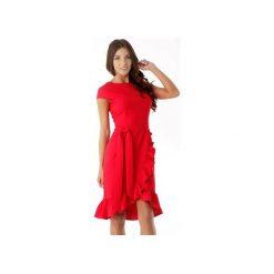 Elegancka sukienka falbaną czerwona ED03-1. Czarne sukienki balowe marki Ella dora, xl, w koronkowe wzory, z koronki, z falbankami, dopasowane. Za 259,00 zł.