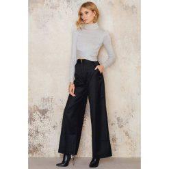 Spodnie z wysokim stanem: IMVEE Spodnie z wysokim stanem i suwakiem z przodu – Black