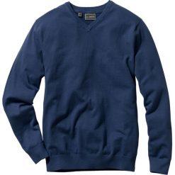 Swetry klasyczne męskie: Sweter z dekoltem w serek Regular Fit bonprix ciemnoniebieski