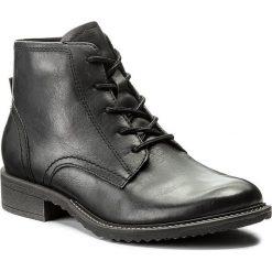 Botki TAMARIS - 1-25245-29 Black Leather 003. Czarne botki damskie na obcasie Tamaris, z nubiku. W wyprzedaży za 249,00 zł.