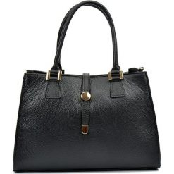 Torebki klasyczne damskie: Skórzana torebka w kolorze czarnym – (S)35 x (W)24 x (G)11 cm