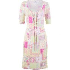 Sukienka shirtowa, krótki rękaw bonprix biało-żółty cytrynowy wzorzysty. Białe sukienki mini marki bonprix, z krótkim rękawem. Za 44,99 zł.