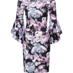 Sukienki hiszpanki: Sukienka w kwiatowy deseń bonprix czarno-lila w kwiaty