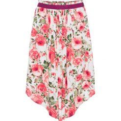 Szeroka spódniczka midi bonprix biel wełny w kwiaty. Białe spódniczki marki bonprix, w kwiaty, z wełny, midi. Za 49,99 zł.