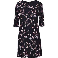 Sukienki: Sukienka z wiskozy bonprix czarny z nadrukiem w motyle