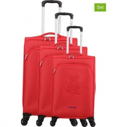 """Walizki (3 szt.) """"Teddy Bear"""" w kolorze czerwonym. Czarne walizki marki Jack Wolfskin, w paski, z materiału, małe. W wyprzedaży za 673,95 zł."""