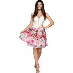 Sukienki balowe: Kremowa Elegancka Wyjściowa Sukienka z Szerokim Dołem w Kwiaty