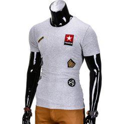 T-SHIRT MĘSKI Z NADRUKIEM S818 - SZARY. Szare t-shirty męskie z nadrukiem Ombre Clothing, m. Za 45,00 zł.