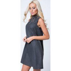 Sukienki: Sukienka z koralikami ciemnoszara MP62073