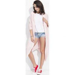 Różowy Długi Sweter-Narzutka z Kieszeniami. Czerwone bolerka i narzutki damskie marki Molly.pl, l, z jeansu, biznesowe, z dekoltem na plecach, z długim rękawem. Za 102,90 zł.