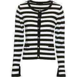 Sweter rozpinany bonprix czarno-biały w paski. Białe kardigany damskie bonprix, w paski. Za 84,99 zł.