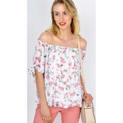 Bluzki asymetryczne: Bluzka hiszpanka w kwiaty ze ściągaczami