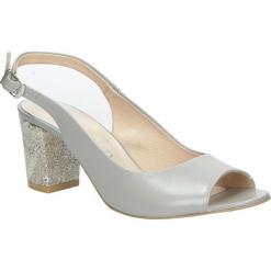 Szare sandały skórzane z ozdobnym obcasem Casu CAS003. Szare sandały damskie Casu. Za 219,99 zł.