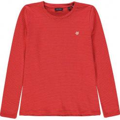 Koszulka w kolorze fuksji. Białe bluzki dziewczęce bawełniane marki Marc O'Polo Junior, z nadrukiem, z okrągłym kołnierzem, z długim rękawem. W wyprzedaży za 42,95 zł.