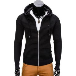 BLUZA MĘSKA ROZPINANA Z KAPTUREM B679 - CZARNA. Czarne bluzy męskie rozpinane Ombre Clothing, m, z bawełny, z kapturem. Za 79,00 zł.