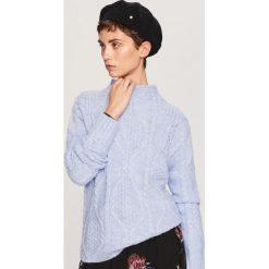 Golfy damskie: Sweter z niskim golfem - Niebieski