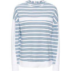 Bluza dresowa bonprix biało-niebiesko-ciemnoniebieski w paski. Białe bluzy damskie bonprix, w paski, z dresówki. Za 49,99 zł.