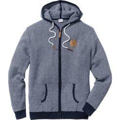 Sweter rozpinany Regular Fit bonprix ciemnoniebiesko-biały. Niebieskie kardigany męskie bonprix, l, z aplikacjami, z materiału, z kapturem. Za 109,99 zł.