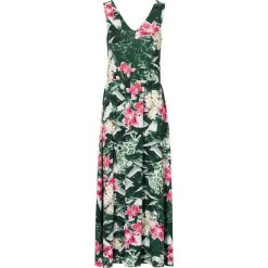 Długie sukienki: Długa sukienka bonprix zielony w kwiaty
