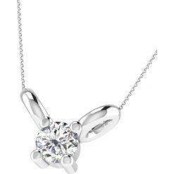 Naszyjniki damskie: Srebrny naszyjnik z diamentem – dł. 43 cm