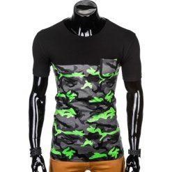 T-SHIRT MĘSKI Z NADRUKIEM S1007 - ZIELONY/MORO. Zielone t-shirty męskie z nadrukiem Ombre Clothing, m. Za 35,00 zł.