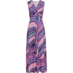 Długie sukienki: Sukienka w kolorowy wzór bonprix różowo-niebieski