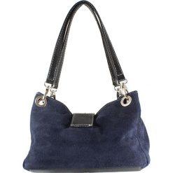 Torebki i plecaki damskie: Skórzana torebka w kolorze niebieskim – 26,5 x 18 x 12 cm