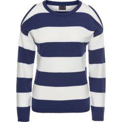 Swetry klasyczne damskie: Sweter w paski z wycięciami bonprix kobaltowo-biały