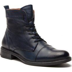 Kozaki LANQIER - 43A631 Granatowy. Niebieskie buty zimowe męskie Lanqier, z materiału. W wyprzedaży za 219,00 zł.