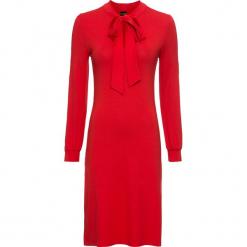 Sukienka bonprix czerwony. Czerwone sukienki z falbanami bonprix, z elastanu, dopasowane. Za 59,99 zł.