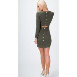 Sukienka z rozcięciem na plecach khaki 6482. Szare sukienki marki Sinsay, l, z dekoltem na plecach. Za 41,00 zł.