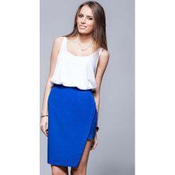 Spódniczki asymetryczne: Niebieska Oryginalna Asymetryczna Spódnica Ołówkowa