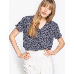 Bluzki asymetryczne: Wzorzysta bluzka z dekoltem w serek, 100% bawełna