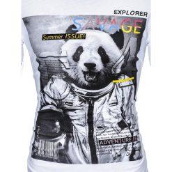 T-shirty męskie: T-SHIRT MĘSKI Z NADRUKIEM S923 - BIAŁY