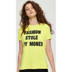Bluzki, topy, tuniki: Bawełniany t-shirt z nadrukiem – Żółty