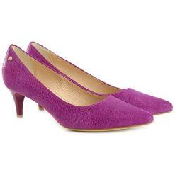 Buty ślubne damskie: Skórzane czółenka w kolorze fioletowym