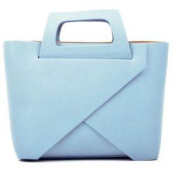 Torebki klasyczne damskie: Skórzana torebka w kolorze niebieskim – (S)25 x (W)40 x (G)12 cm