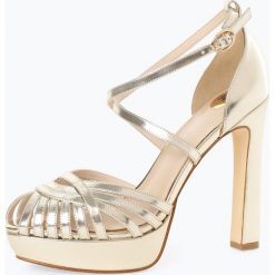 Buffalo - Damskie skórzane sandały na obcasie – Marigold, złoty. Żółte sandały damskie marki Buffalo, na wysokim obcasie, na obcasie. Za 329,95 zł.